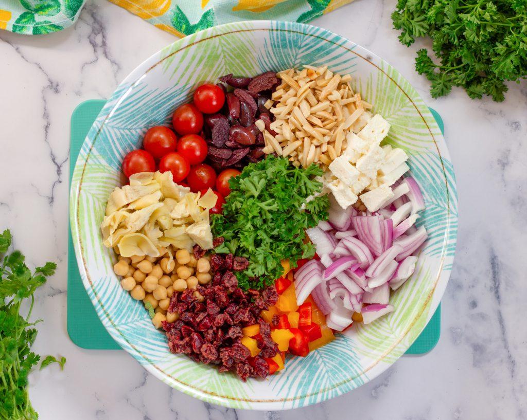 Pearl Couscous Mediterranean salad ingredients