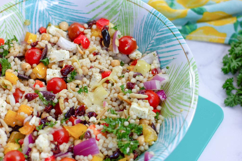 Pearl Couscous Mediterranean salad with dried cranberries