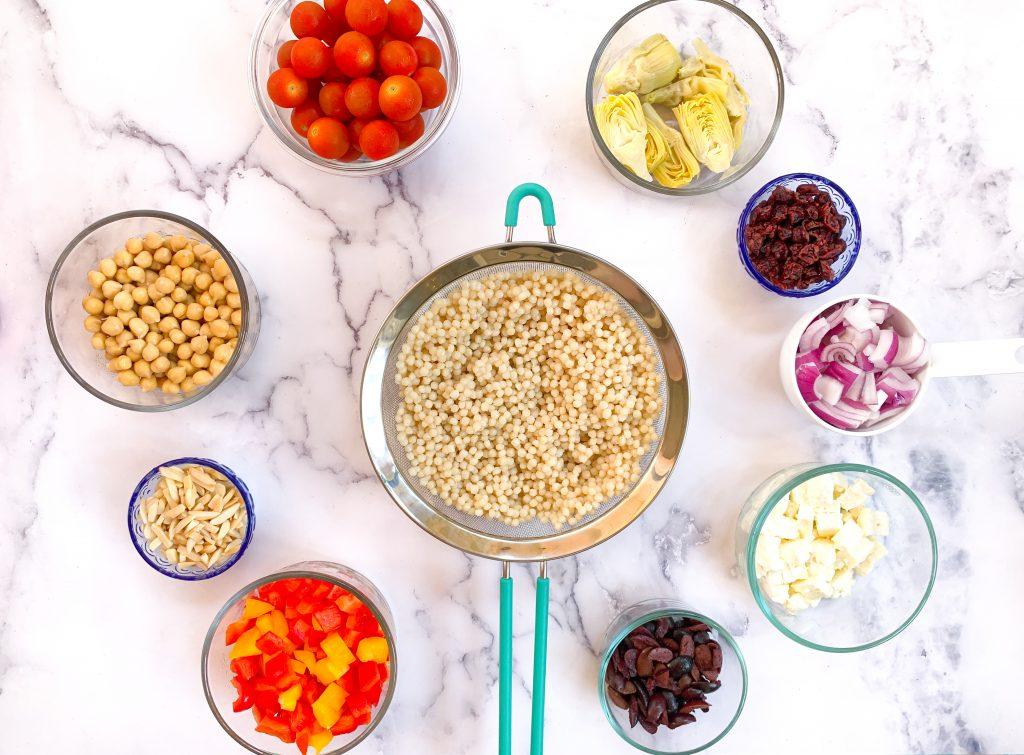 Mediterranean Pearl couscous salad ingredients
