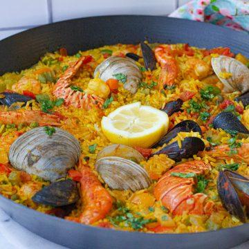 a seafood paella dish