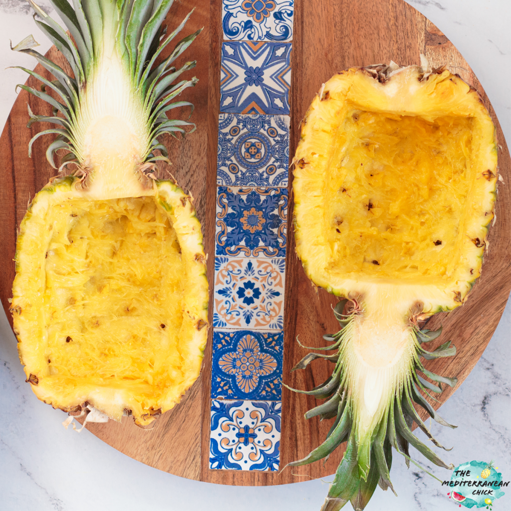 Pineapple bowl on wooden plate
