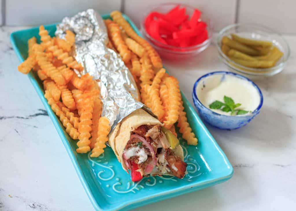chicken shawarma sandwich with fries