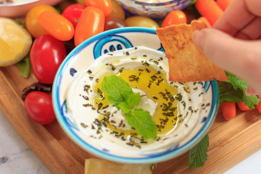 labneh dip in a small bowl