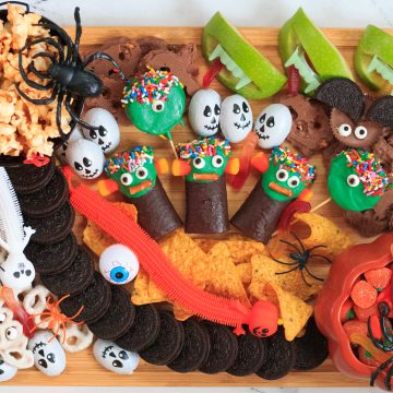 closeup of the Halloween Platter for kids full of candies, fruits and chips